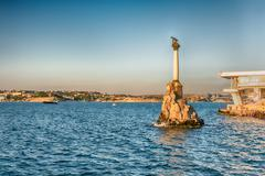 Sunken ships memorial, iconic monument in Sevastopol, Crimea Stock Photos