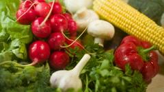 Arrangement of Vegetables Stock Footage