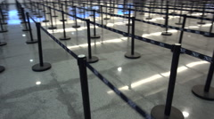 Immigration line dividers at the airport in Cabo San Lucas, Mexico. Stock Footage