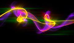 Abstract colorful wavy smoke flame over black background Stock Illustration