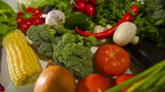 Different raw vegetables Stock Footage