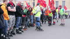 Crowd of People on Roller Skates Ready for Ride Stock Footage