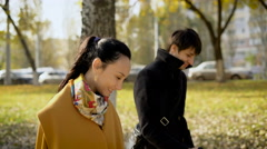Young couple during the lunch break walked around the city Stock Footage
