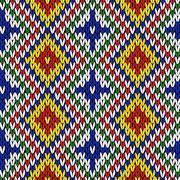 Seamless knitting geometrical colourful pattern Stock Illustration