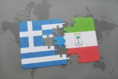 Puzzle with the national flag of greece and equatorial guinea on a world map  Stock Photos
