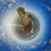 Point Pelee National Park beach at sunset, 360 spheric view Stock Photos