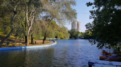 Lake in the Central Park with boats Stock Footage