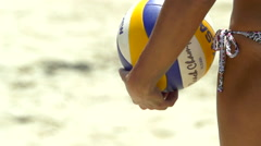 Women playing pro beach volleyball, slow motion. Stock Footage