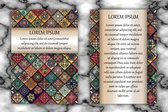Vintage card with tribal tile patchwork abstract pattern and ornaments. Stock Illustration