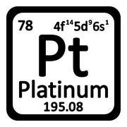 Periodic table element platinum icon. Stock Illustration