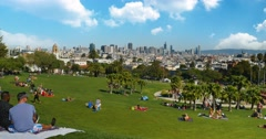 Rear Establishing Shot People Enjoying Mission Dolores Park in San Francisco	 	 Stock Footage