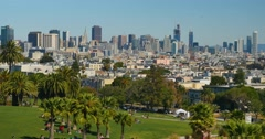 High Angle Establishing Shot San Francisco Skyline from Mission Dolores Park  	 Stock Footage