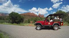 Guided Tour Jeep With Tourists- Sedona Arizona Stock Footage