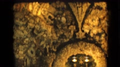 1967: marble statue of madonna and child in a grotto IOWA Stock Footage