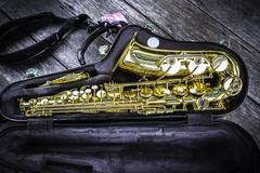 Golden alto saxophone in box Kuvituskuvat