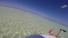 POV of a man doing a trick while kite surfing in the Red Sea, Egypt. Stock Footage