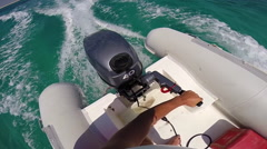 People riding in an inflatable boat in the Red Sea, Egypt. Stock Footage
