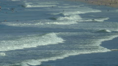 The beach is crowded in Hermosa Beach, California. Stock Footage