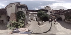 Courtyard of Bran Castle, Dracula's Castle near Bran in Romania, 360 video VR Stock Footage