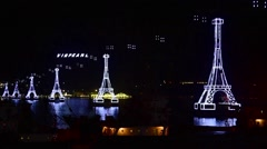 A night view at illuminated supports of cable way to Vinpearl Stock Footage