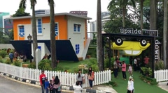 Kuala Lumpur Upside Down House, a tourist attraction Stock Footage