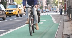 Bicycle Riding Lane in Manhattan New York City 4K Stock Footage