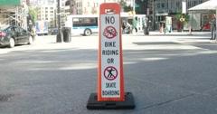 No Bike Riding Sign in Manhattan New York City 4K Stock Footage