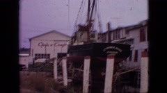 1968: the yard of a ship factory with one boat under construction MISSOURI Stock Footage