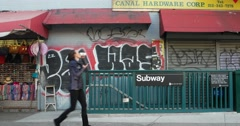 Graffiti Outside Subway Station in Manhattan New York City 4K Stock Footage