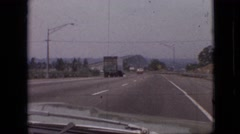 1968: car moving fast on highway truck ahead MISSOURI Stock Footage
