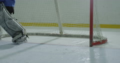 The puck enters the goal Stock Footage