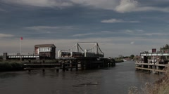 Reedham Swing Bridge closes over the River Yare  Stock Footage