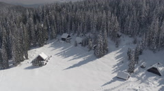 AERIAL: View of idyllic ski resort, alpine houses and dense forest in wintertime Stock Footage