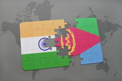 Puzzle with the national flag of india and eritrea on a world map background. Stock Photos