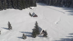 AERIAL: Alpine houses in dense spruce forest on snowy white plane in wintertime Stock Footage