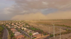 4K Drone Aerial Desert Suburb Approaching Dust Storm Stock Footage