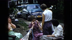 1969: family get together outside. CALIFORNIA Stock Footage