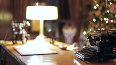 Retro Christmas interior with old typewriter Stock Footage