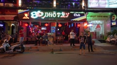 Nightlife with bars and pubs, Bui Vien Street. District One Stock Footage