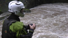 Kayakers near the rivers edge. Stock Footage