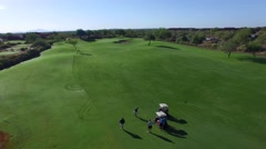 4K Aerial Drone Desert Golf Course Fast Tracking Shot of Fairway Shot to Green Stock Footage