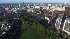Flying towards Birmingham city centre, UK. Stock Footage