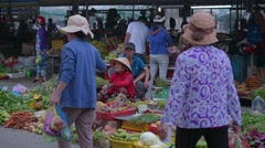 Unidentified fish seller at An Binh Market Stock Footage