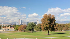 Iconic view of downtown Denver from the City Park. Stock Footage