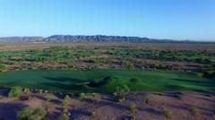 4K Aerial Drone Desert Golf Course Sideways Left View of Fairways Stock Footage