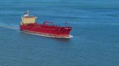 High Angle View of Cargo Ship in Open Ocean Stock Footage