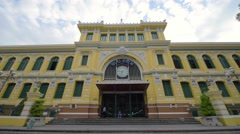 Saigon Central Post Office designed by Gustave Eiffe Stock Footage