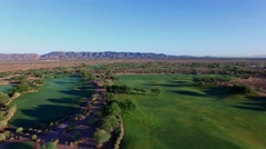 4K Aerial Drone Desert Golf Course Flyover Fairway Stock Footage
