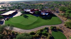 4K Aerial Drone Desert Golf Course Flyover Clubhouse Stock Footage