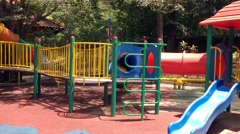 View of playground at summer day Stock Footage